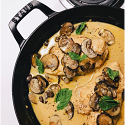 Sautéed Breasts of Chicken with Garnish of Mushrooms