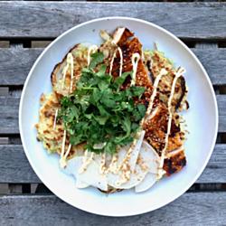 Okonomiyaki with Gochujang Chicken