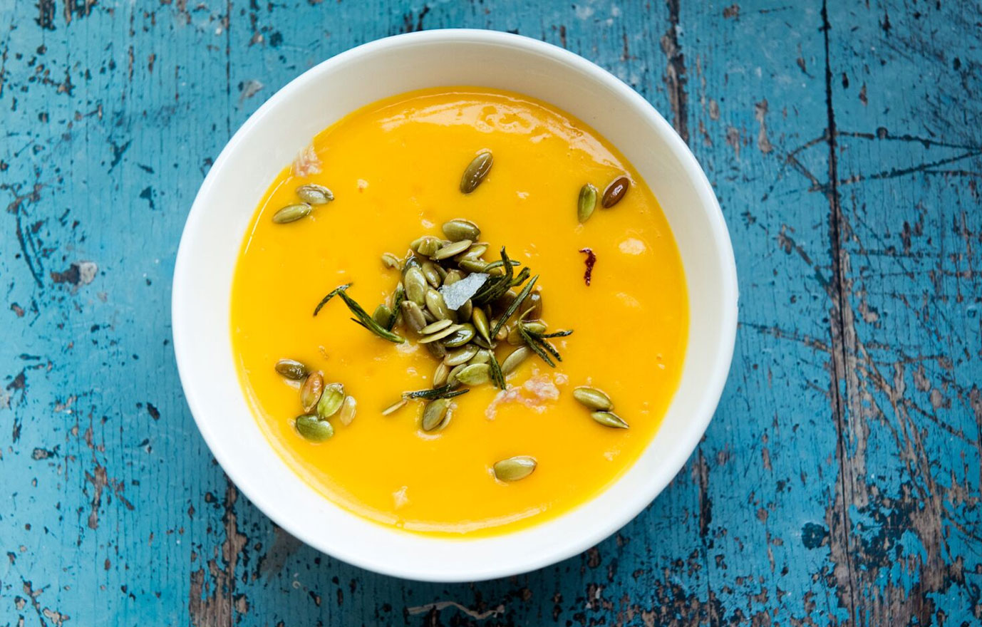 Butternut Squash Soup with Rosemary and Pumpkin