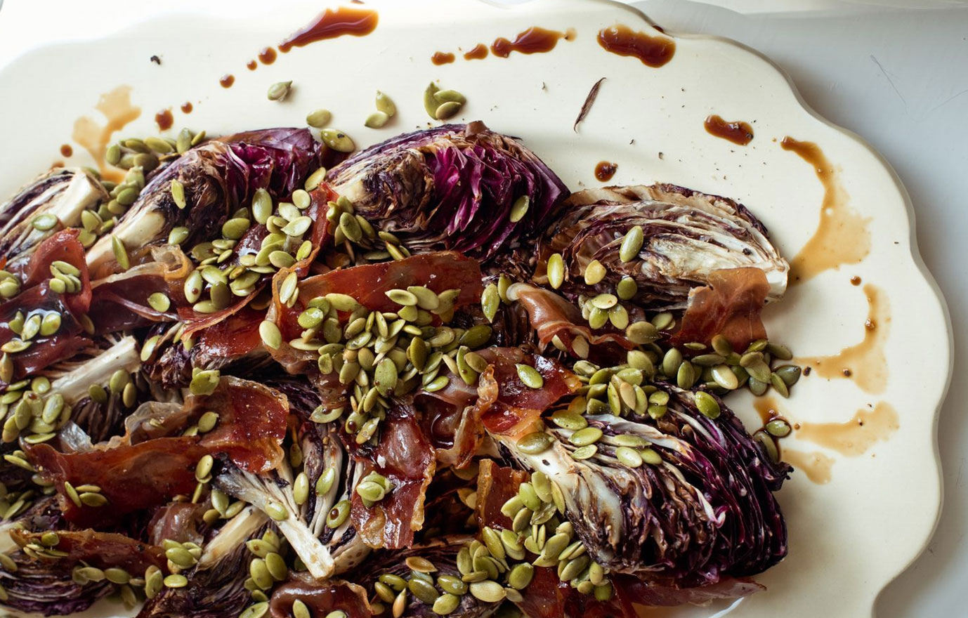 Roasted Radicchio and Prosciutto with Balsamic