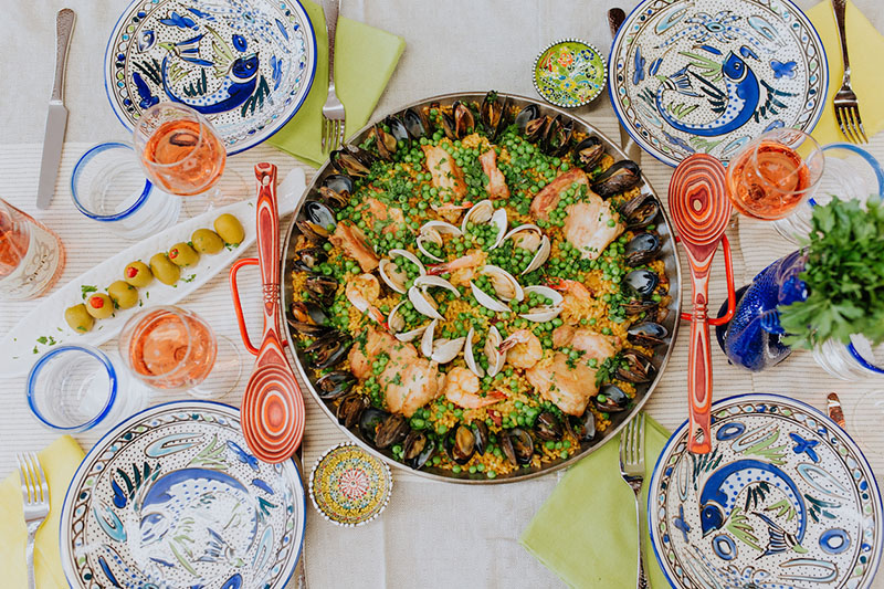 Paella served on La Souk dishes