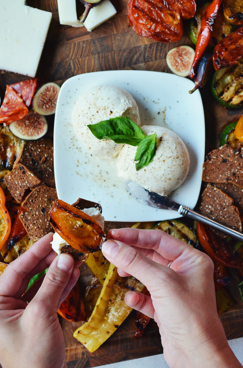 grilled vegetables with burratta