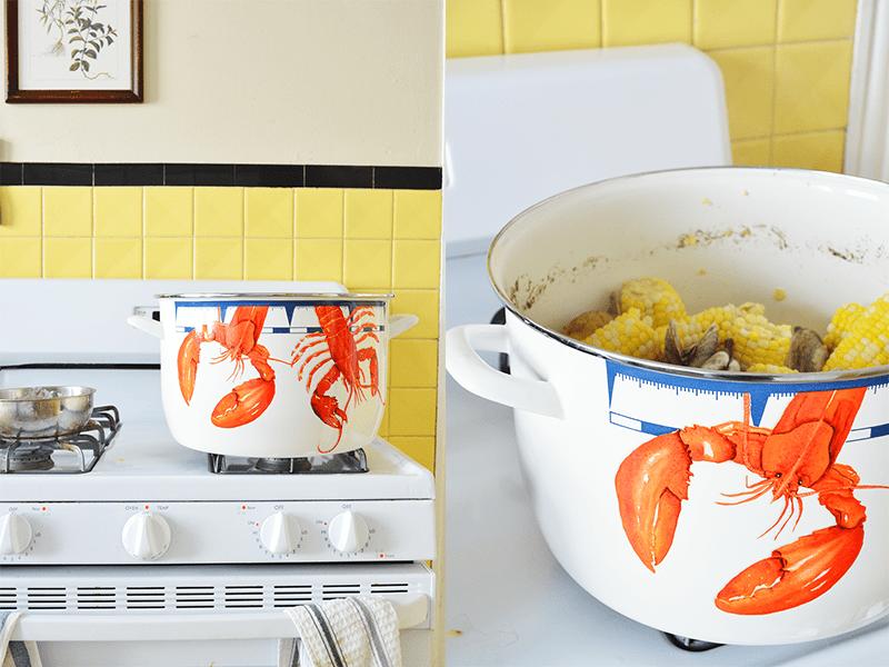 golden rabbit stock pot on stove