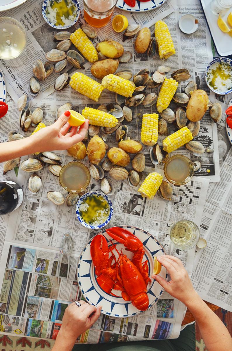 lobster boil over newspaper