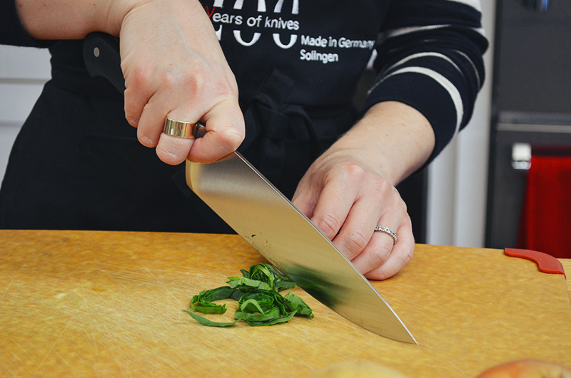 mincing using chefs knife